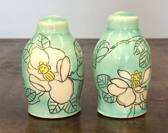Handmade Magnolia Salt and Pepper Shakers. In Aqua Glaze. MA1