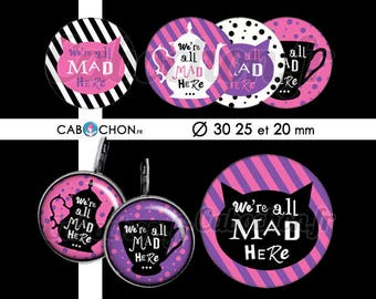 We're All Mad Here • 45 Images round digital 30 25 and 20 mm bookmark alice wonderland rabbit teapot Tea Cup cheshire cat jewelry