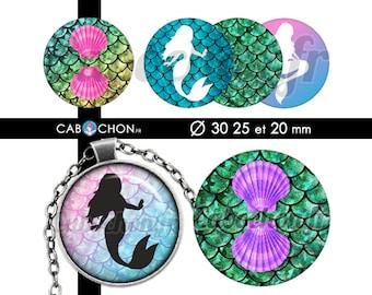 Sirène  • 45 Images Digitales RONDES 30 25 20 mm sirene mermaid marin coquillage saint jacques poisson queue sirenes ariel