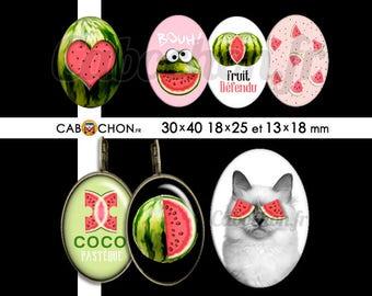 Coco Pasteque • 45 Images Digitales OVALES 30x40 18x25 13x18 mm chat pasteque fruit défendu sexe clitoris humour coeur tranche