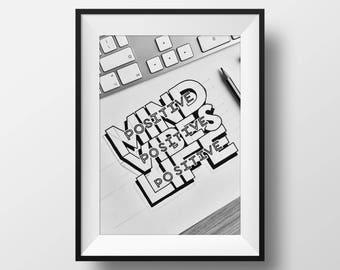 Positive mind, positive vibes, positive life - Hand drawn illustration