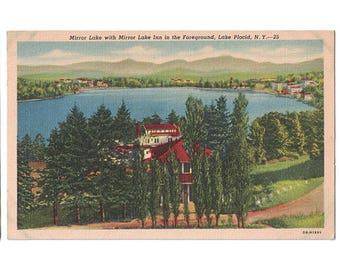 Lake Placid New York vintage linen postcard | Adirondack Mountains, Mirror Lake Inn | 1940s NY travel decor, vacation souvenir