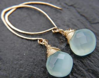 Aqua Chalcedony, Gold Hoop Earrings, Gold Filled, Wire Wrapped, Gemstone Earrings, Teardrop Earrings, Long Hoop Earrings, Wedding, Boho