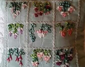 Silk ribbon fushisa sampler pillow
