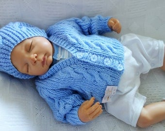 Hand knitted baby boy's first size 0-3 months v-neck cardigan/sweater with matching beanie style hat.