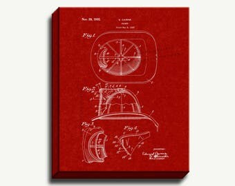 Canvas Patent Print - Cairns Fireman Helmet Gallery Wrapped Canvas Print
