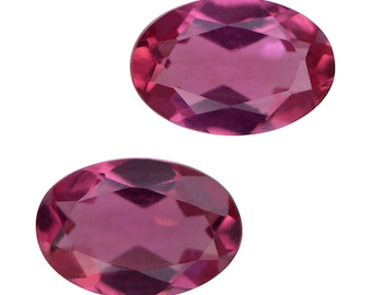 Bixbite Red Beryl Synthetic Lab Created Loose Gemstone Oval Cut Set of 2 1A Quality 6x4mm TGW 0.70 cts.