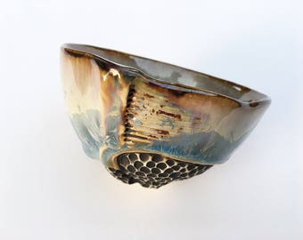 Whiskey Cup, Small Tea Bowl in Cream & Blue Crystalline Glaze, Hand Built Ceramic Bowl, Great Gift For Tea Lovers.  2 in tall Food Safe