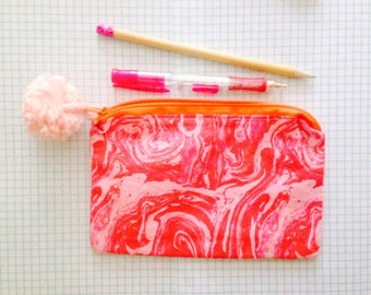 Back to School, Pencil Case, School Materials, Makeup Bag, Gift for Her, Hot Pink Pouch, Pom Poms , Marble
