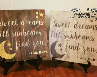 Sweet Dreams till Sunbeams Find You Sign - Sweet Dreams Sign - Nursery Sign - Moon Sign - Retro Wood SIgn - Sunbeams and Moonbeams