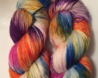 Hand Dyed Yarn SW worsted weight  | 100% superwash merino wool   | 100 gr |Northern Lights  | super soft Free Shipping in the US