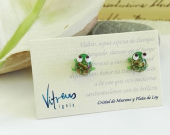 Green Frog Earring Murano Glass and Sterling Silver