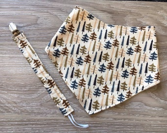 Baby bandana bib, Fabric soother strap, Binky clip, Baby gift set, Trees, Woodland