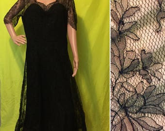 1950s Neiman Marcus Black Lace Formal, L