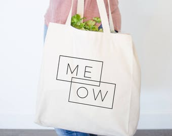 Meow Canvas Tote Bag - Cat Gift, Gifts for Her