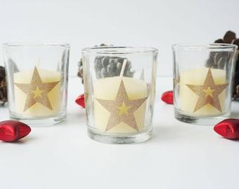 Gold Star Glass Votive Holders, Pack of 3 star votives, Glass votive with red candle, glitter votive design holders, gold wedding votives