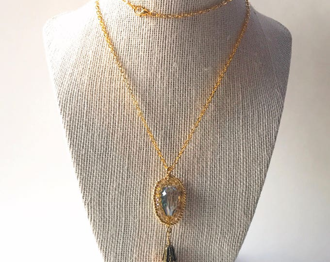Gold Tassel Wire Wrapping Necklace, Tassel Necklace, Tassel green jewelry, long Tassel necklace