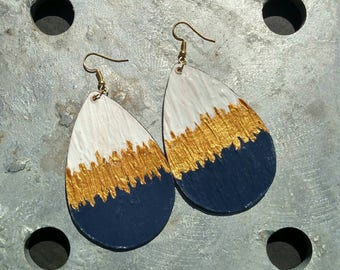 Hand-painted Navy Blue Earrings, White and Gold Earrings, Hand-painted Earrings, Multi-Color Earrings, Navy Blue Earrings, Navy Blue Jewelry