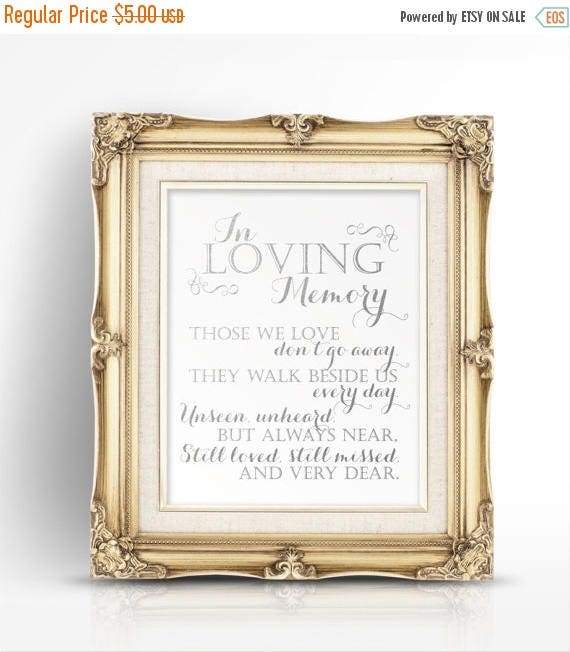 70 Off Thru 1021 Only In Loving Memory Silver Printable Wedding