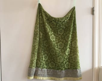Skirt in moss green cotton,boho green skirt, shabby chic green skirt, skirt in nature colors, rawrags skirt, bohemian skirt, gypsy green