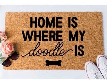 Home Doodle Doormat - Funny Doormat - Welcome Mat - Funny Rug - Reminder Rug - Sassy Doormat - Door Mat - Unique Doormat - Dog Doormat