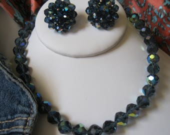 Vintage Laguna Iridescent Lush Blue Green Aurora Borealis Crystal Necklace and Earring Set