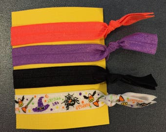 Halloween Elastic Hair Ties: Set of Four