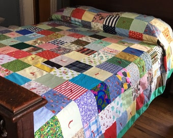 VINTAGE PATCHWORK QUILT Vintage Tied Quilt Double Hand Quilted