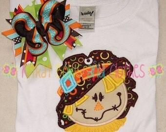 ON SALE Scarecrow Shirt and Matching Hairbow - Pumpkin Shirt - Thanksgiving Shirt - Pumpkin Patch Shirt