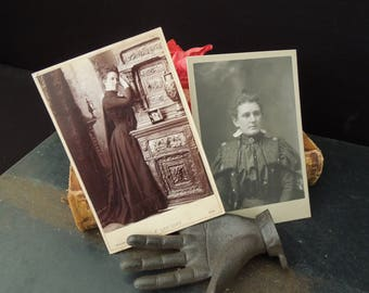 Cabinet Cards 1800's Women - Victorian Goff Studio Portraits - Vintage Photo's Wisconsin Sepia and Black White