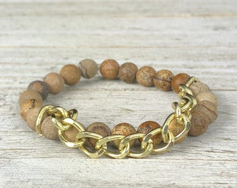 Brown Jasper Beaded Bracelet With Gold Filled Chain