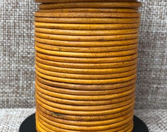 25 Yards 1.5mm Round Leather Cord - Mustard Distressed Natural Dye Genuine Indian Leather - Natural Mustard Round Leather - LCR1.5-3014