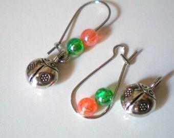 Kit EARRINGS * lady bug * green orange silver metal hooks