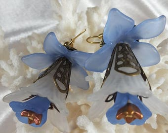 "Delicate Blue Denim and White ""Fairy"" Flower Earrings with Antique Brass Bead Caps"