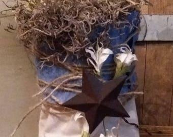 Farmhouse decor/ primitive decor. Door hanger muslin bag