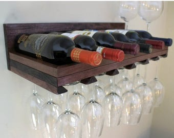 ON SALE 7 Bottle Wine Rack and Glass Holder, You Get to Pick The Color, Glass and Wine Storage, Stained Wall Mounted Wine Rack with Large Sh