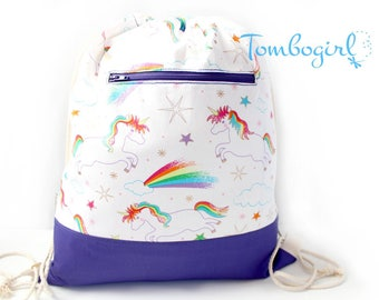 Childcare bag/ Waterproof Drawstring Backpack/ Wet Bag/ S, M, L or XL size, Australian made, Personalised , birthday gift– Unicorn Rainbow