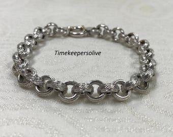 "Beautiful Vintage 14k White Gold Elegant Round Link Chain Bracelet 8"""