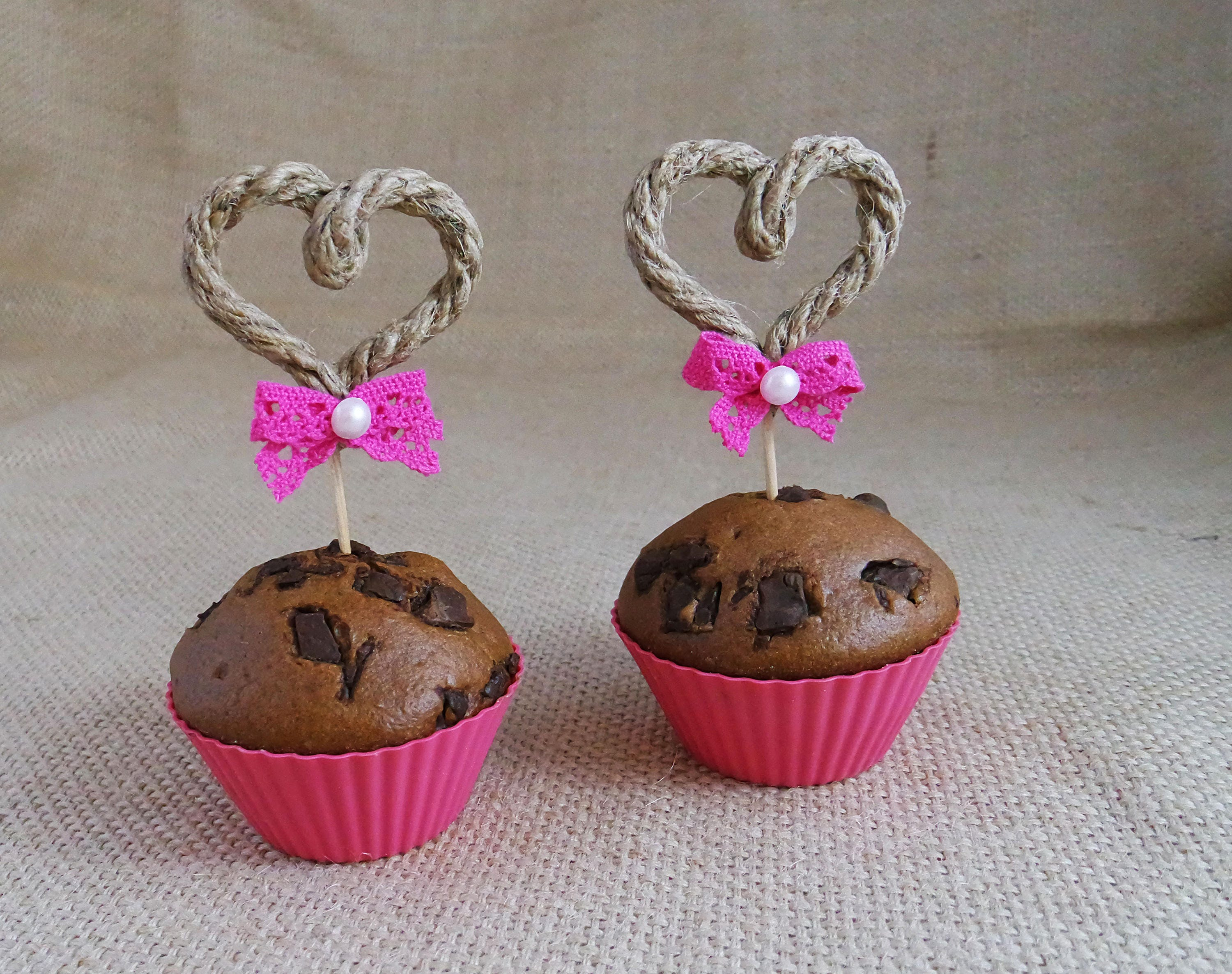 Rope Heart Wedding Cupcake Toppers Cake Decorations Cupcake Topper