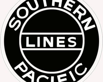 """Southern Pacific Lines Railroad Herald 14"""" Round RVG6001 24g Metal"""