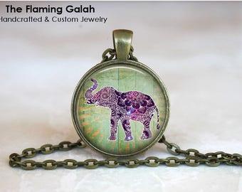 ELEPHANT Pendant • BoHo Elephants • Mandala Elephant • Purple Elephant • Indian Elephant • Gift Under 20 • Made in Australia (P1565)