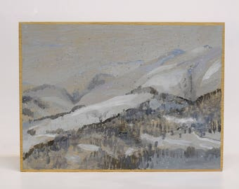 Snowed landscape.  Painting by Juanma Pérez. Oil on plywood.