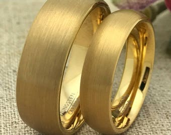 8mm/6mm His & Hers Wedding Rings Personalize Custom Engrave Gold IP Plated Tungsten Ring, Wedding Rings, Promise Ring, Couples Ring,