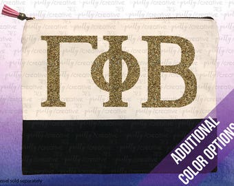 Sorority Greek Letters Two Tone Makeup/Travel Cosmetic Bag with Black Canvas Trim -  Black, Silver or Gold Glitter