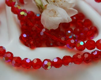 lot 10 pearls Crystal faceted round 5mm red light siam ab