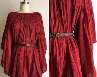 70s cotton gauze top  ~ vintage angel sleeve blouse