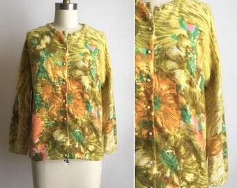 1950s Darlene cardigan M/L ~ vintage floral angora blend sweater
