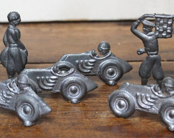 Vintage Collectible Lead Figural Race Cars and Flagman with Mechanic