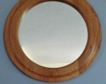 Oak decorator wall mirror