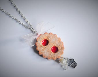 Cake glasses necklace - White bow